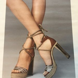 JIMMY CHOO lace-up espadrilles with painted heels.